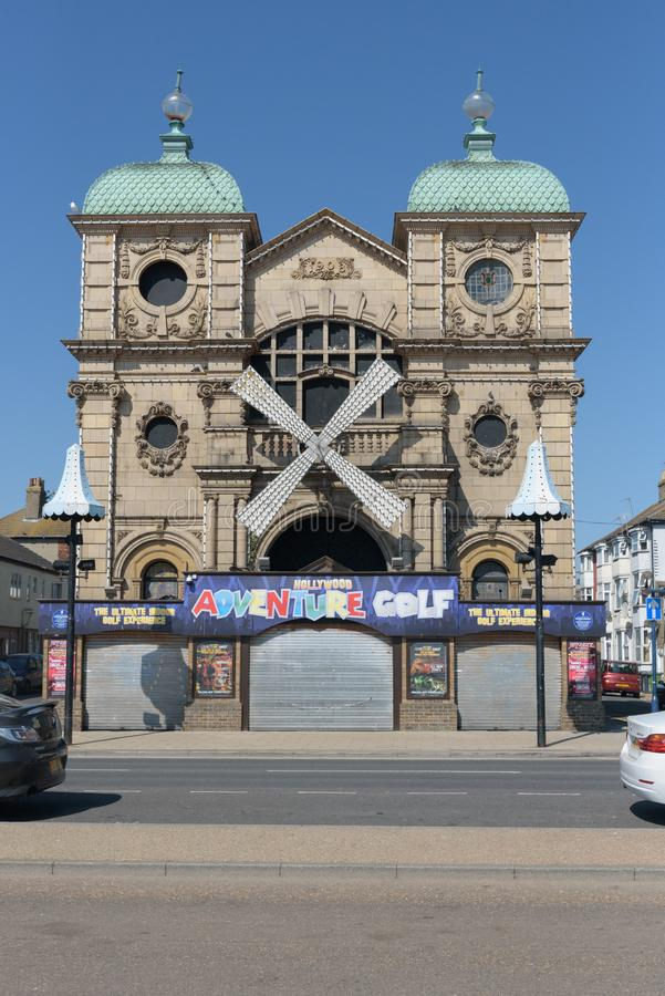 GREAT YARMOUTH, UNITED KINGDOM - JULY 14, 2018 - Hollywood Adventure Golf building on Great Yarmouth prom stock image