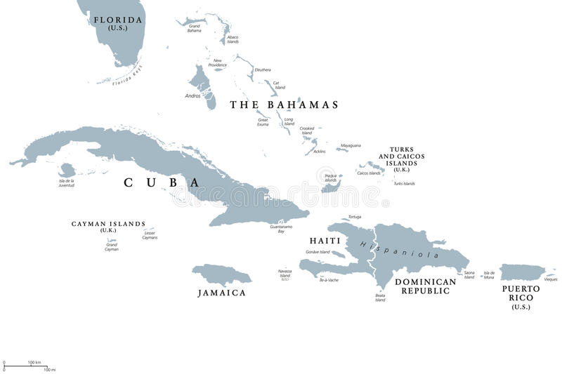 Greater Antilles political map stock illustration