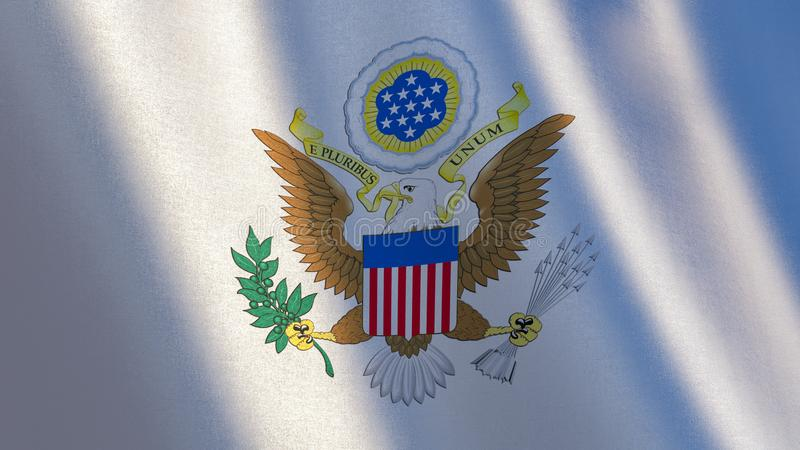 Greater coat of arms of United States of America on white flag. stock illustration