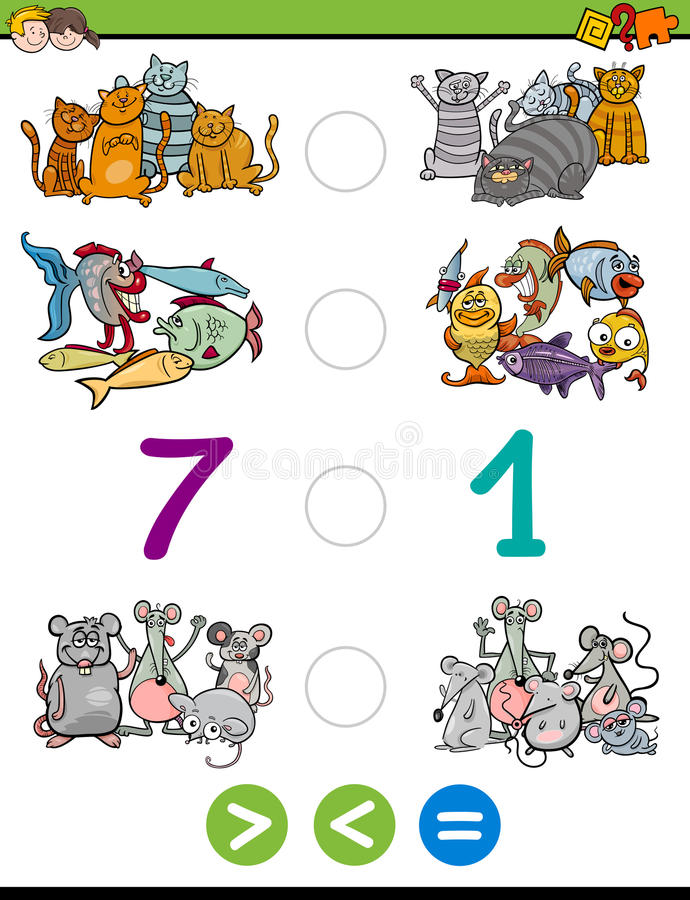 Greater less or equal activity. Cartoon Illustration of Educational Mathematical Activity Game of Greater Than, Less Than or Equal to for Children with Animal stock illustration