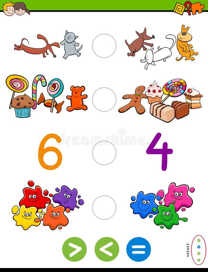 Greater less or equal cartoon game. Cartoon Illustration of Educational Mathematical Activity Game of Greater Than, Less Than or Equal to for Children vector illustration