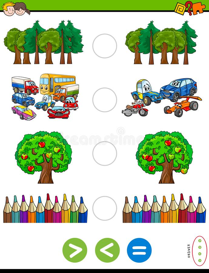 Greater less or equal cartoon game for kids vector illustration