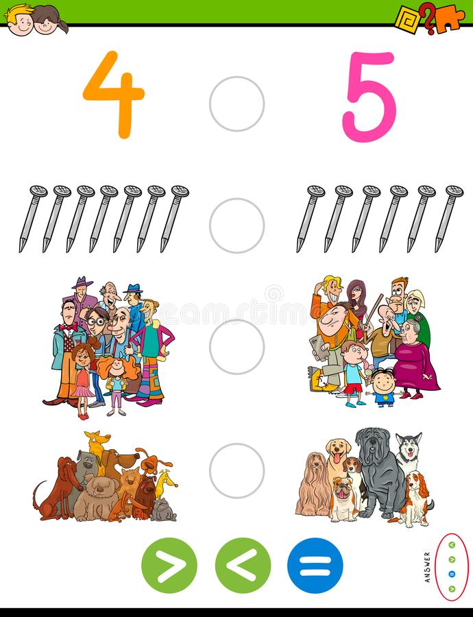 Greater less or equal maths puzzle game. Cartoon Illustration of Educational Mathematical Game of Greater Than, Less Than or Equal to for Kids with Objects and vector illustration