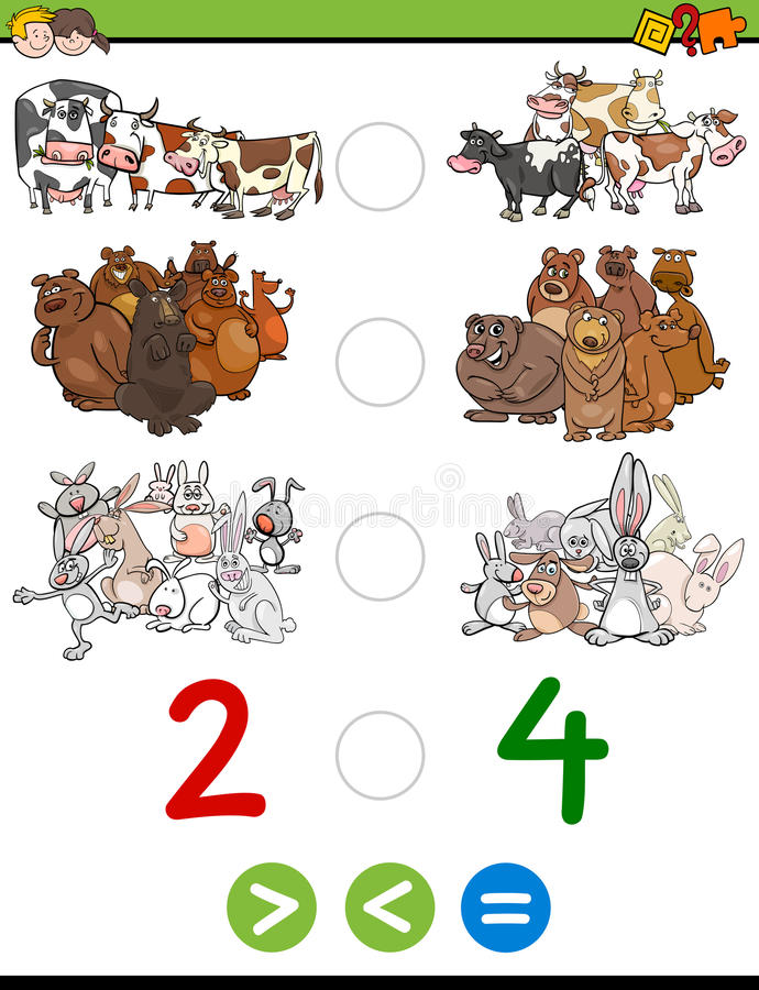 Greater less or equal task. Cartoon Illustration of Educational Mathematical Activity Game of Greater Than, Less Than or Equal to for Children with Animal stock illustration