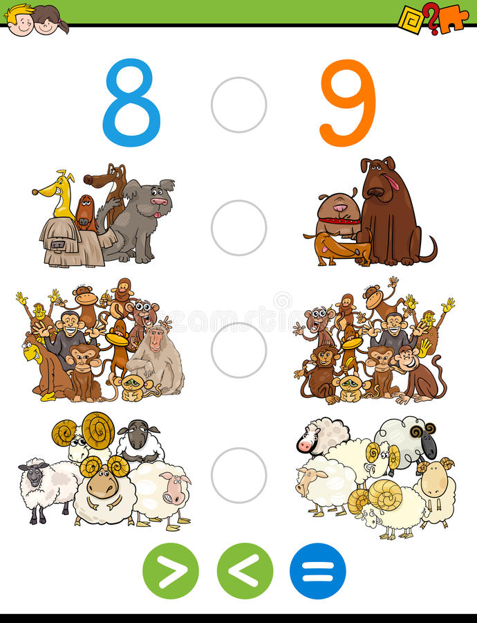 Greater less or equal worksheet. Cartoon Illustration of Educational Mathematical Activity Game of Greater Than, Less Than or Equal to for Children with Animal stock illustration