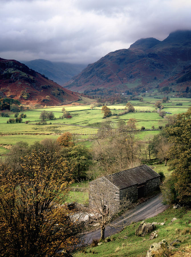 The Greater Langdale valley, Cumbria. The valley floor of Langdale, in the Lake district, surrounded by the fells (mountains) that make this area so popular with royalty free stock photos