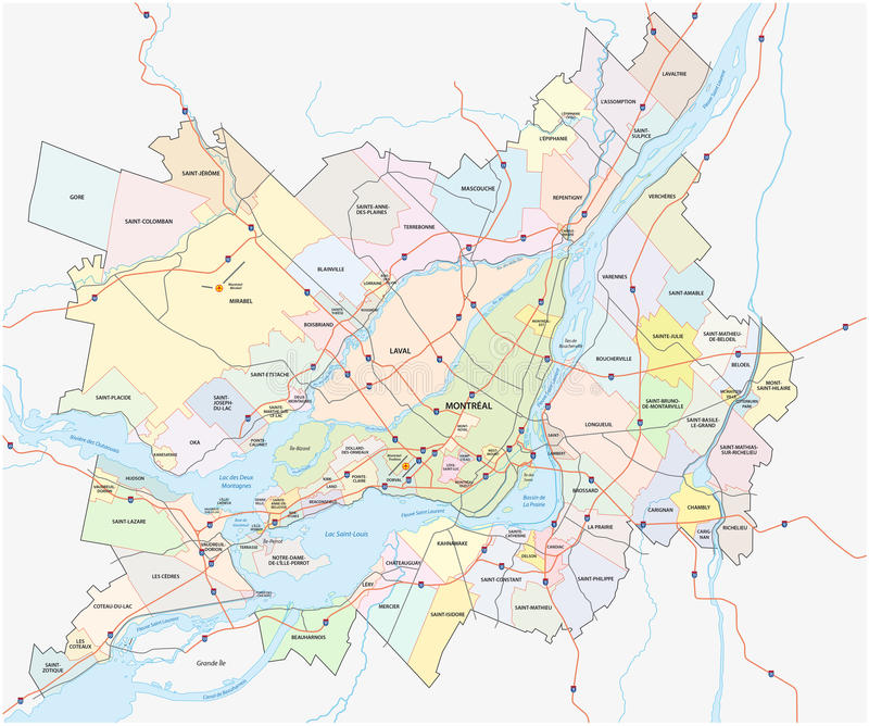 Greater montreal map vector illustration