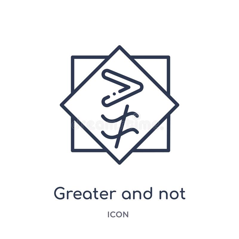 greater and not approximately equal to icon from signs outline collection. Thin line greater and not approximately equal to icon vector illustration
