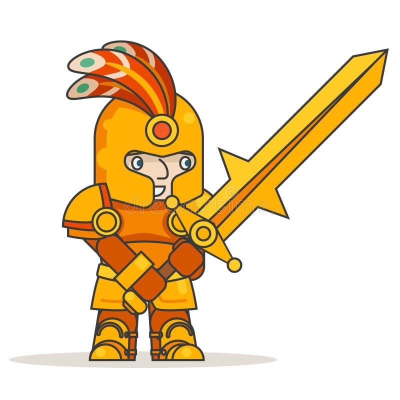Greatsword kordzika wojownika gubernatora wojskowego rycerza fantazi dwuręcznej średniowiecznej akci RPG gemowy charakter odizolo royalty ilustracja