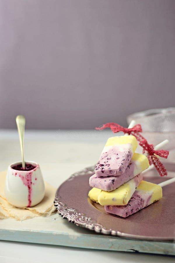 Greccy jogurt wanilii i czarnej jagody lody popsicles zdjęcie stock