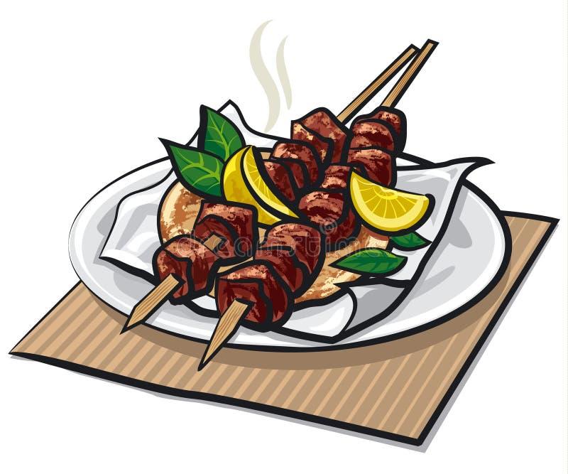 Greccy mięśni kebabs ilustracja wektor