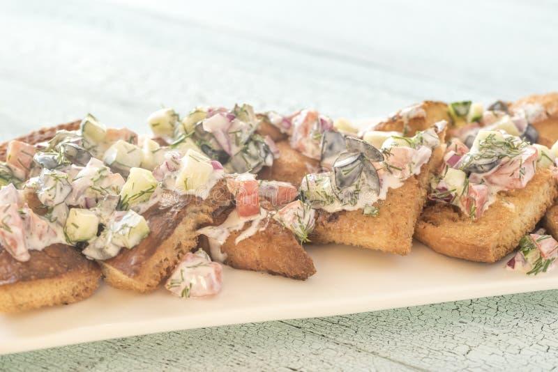 Greccy pita nachos z jarzynową polewą obrazy royalty free