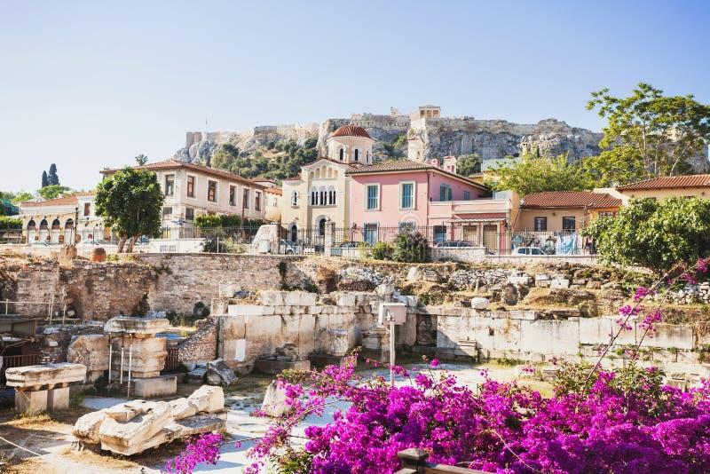 Grecia antigua, detalle de la calle antigua, distrito de Plaka, Atenas, Grecia imagen de archivo