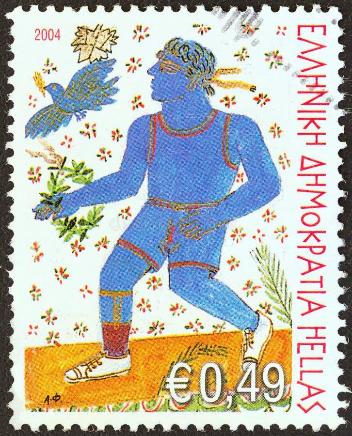 GRECIA - CIRCA 2004: Un sello impreso en Grecia muestra al corredor perjudicado, circa 2004 fotografía de archivo