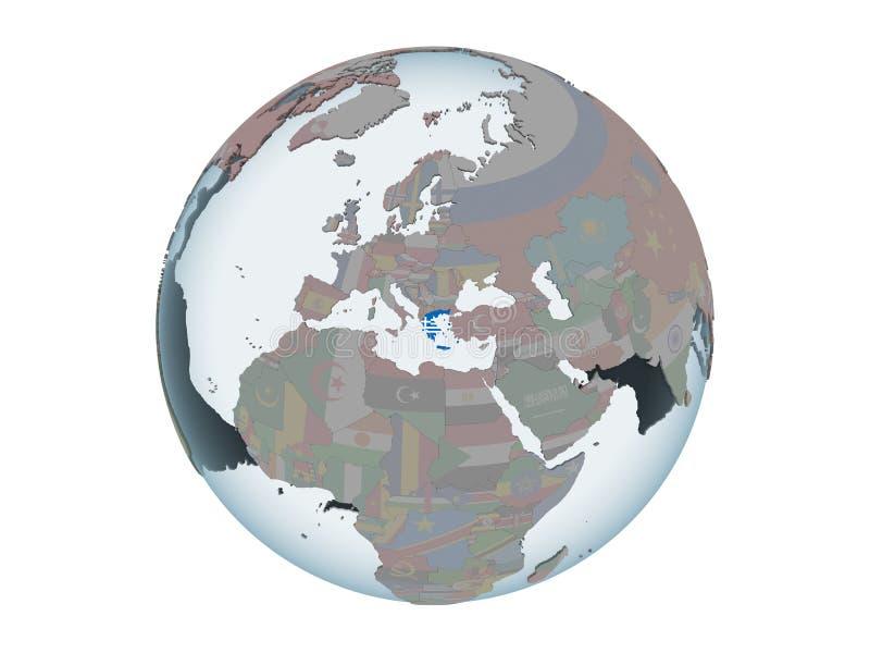 Grecia con la bandera en el globo aislado ilustración del vector