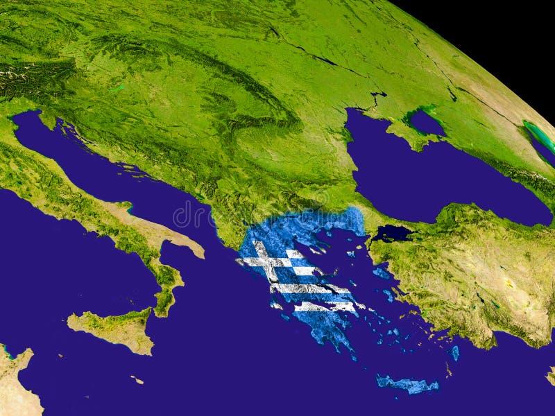 Grecia con la bandera en la tierra stock de ilustración