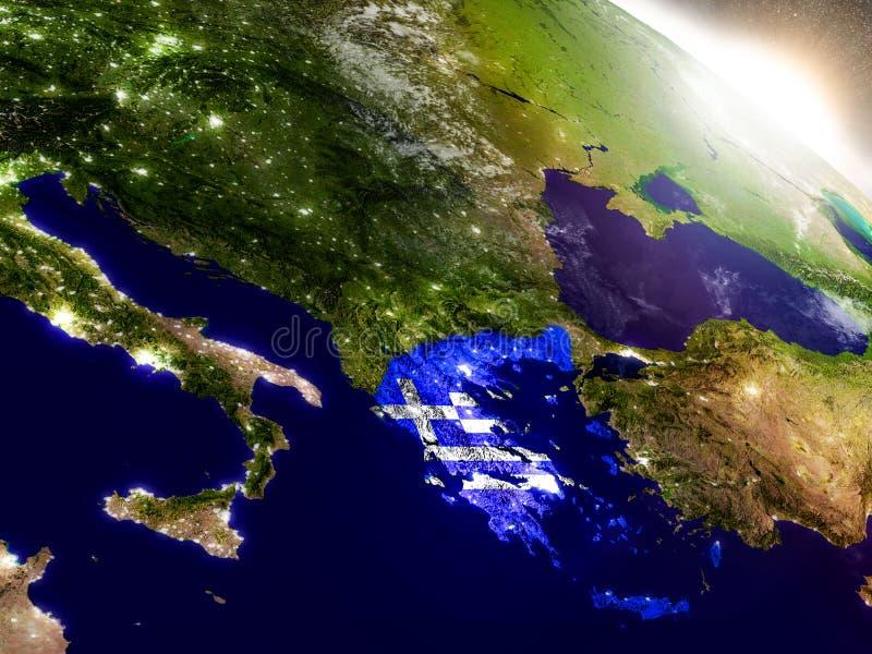 Grecia con la bandera en sol naciente ilustración del vector
