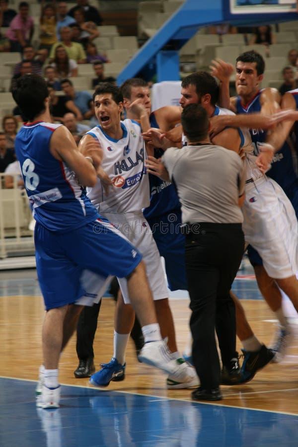 Grecia contra la reyerta de Serbia imagen de archivo libre de regalías