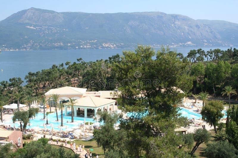 Grecia. Corfú. Hotel imagen de archivo