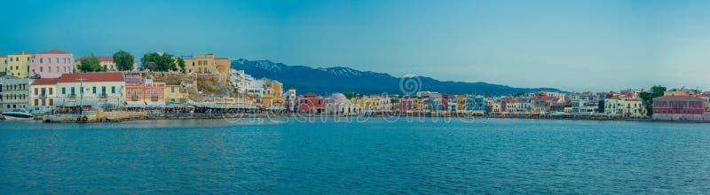 Grecia, Creta, luz de la puesta del sol del paisaje de Chania imagen de archivo libre de regalías