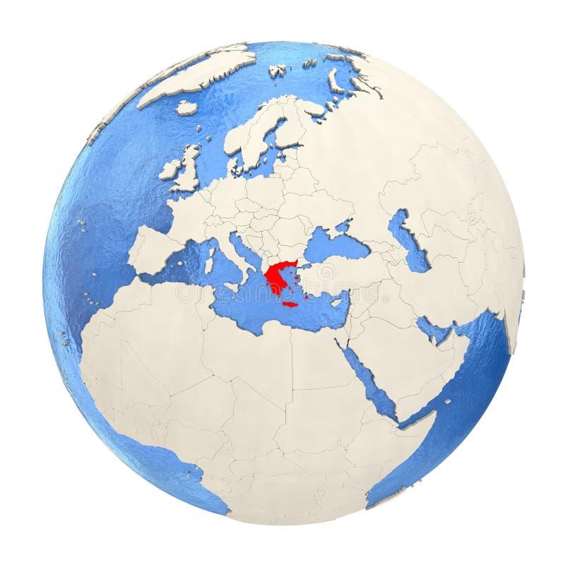 Grecia en rojo en el globo lleno aislado en blanco libre illustration