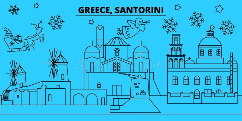 Grecia, horizonte de las vacaciones de invierno de Santorini La Feliz Navidad, Feliz Año Nuevo adornó la bandera con Santa Claus  libre illustration