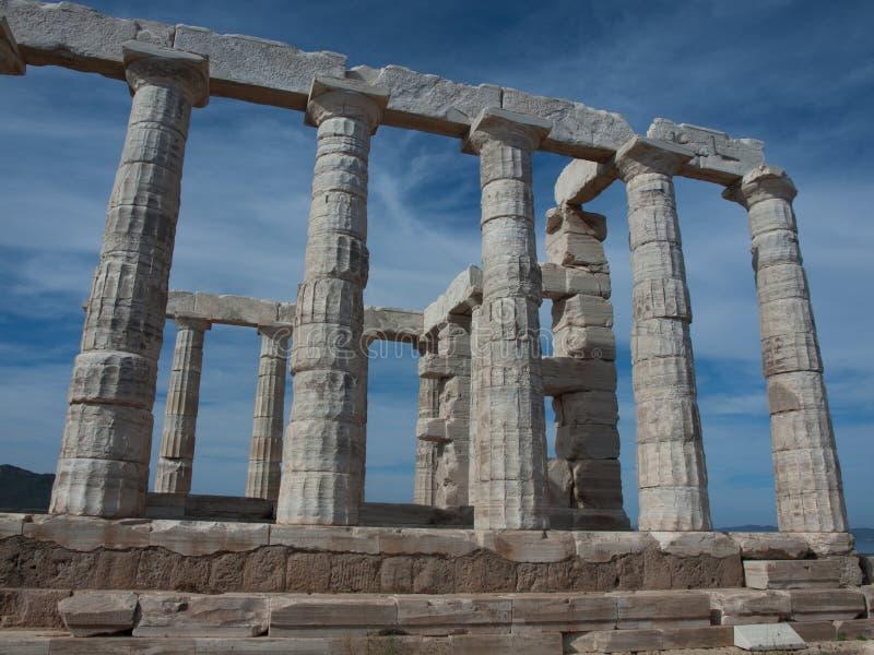 Grecia, templo de Poseidon, cabo Sounion, 440BC, columnas dóricas foto de archivo libre de regalías