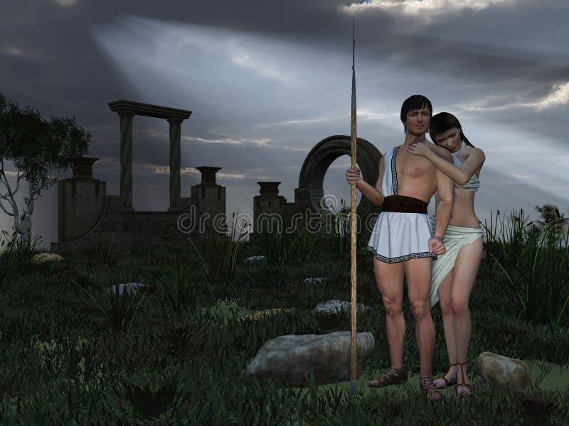 Grecian god and goddess stock illustration