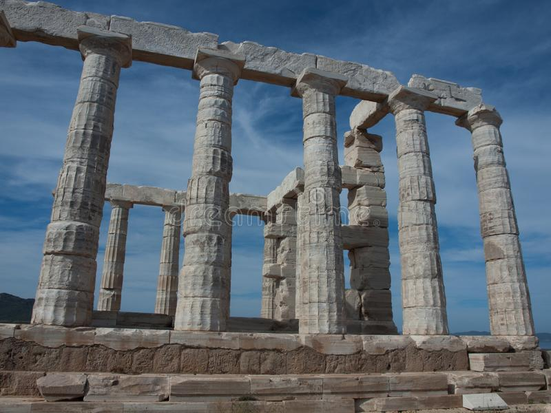 Grecja, świątynia Poseidon, przylądek Sounion, 440BC, Doric kolumny zdjęcie royalty free