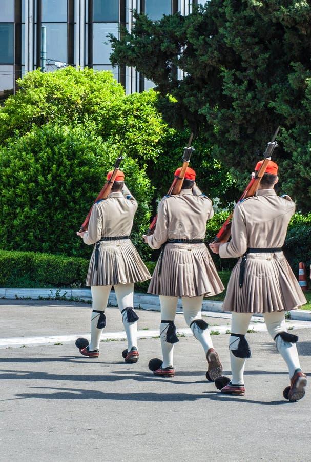 Grecja, Ateny, ceremoniał, gwardii prezydenckich maszerować fotografia royalty free