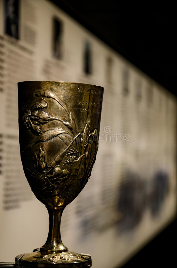 GRECJA ATENY, MARZEC, - 25, 2017: Olimpijska filiżanka Spyros Louis obraz royalty free