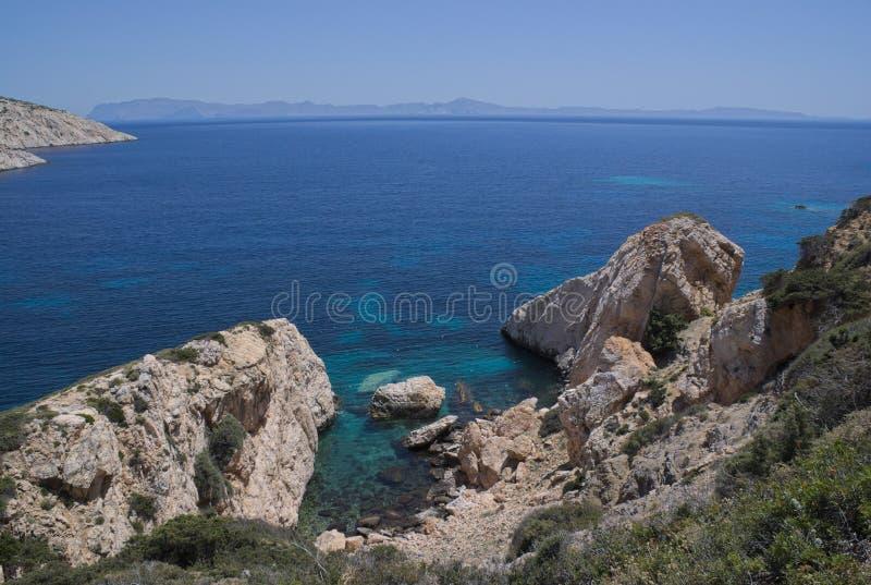 Grecja, Donoussa Widok wyspa Naxos, fotografia royalty free