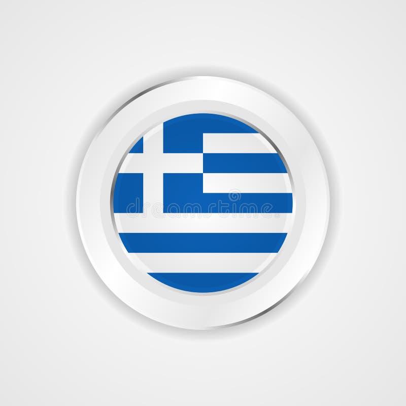 Grecja flaga w glansowanej ikonie ilustracja wektor