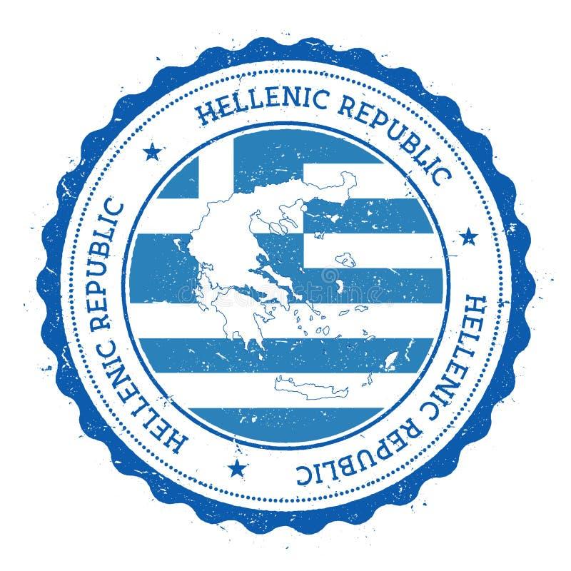 Grecja flaga w rocznik pieczątce i mapa royalty ilustracja