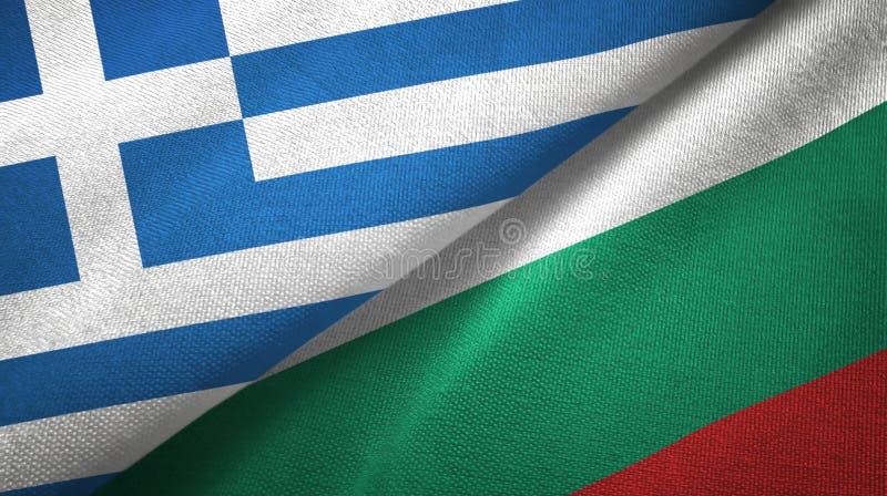 Grecja i Bułgaria dwa flagi tekstylny płótno, tkaniny tekstura royalty ilustracja