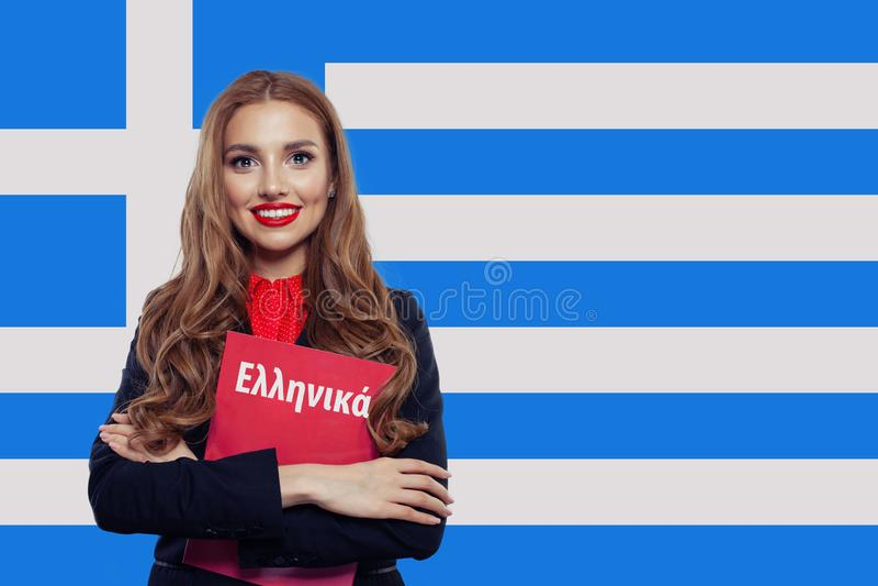 Grecja i grecki j?zykowy poj?cie dziewczyny si? u?miecha obrazy stock