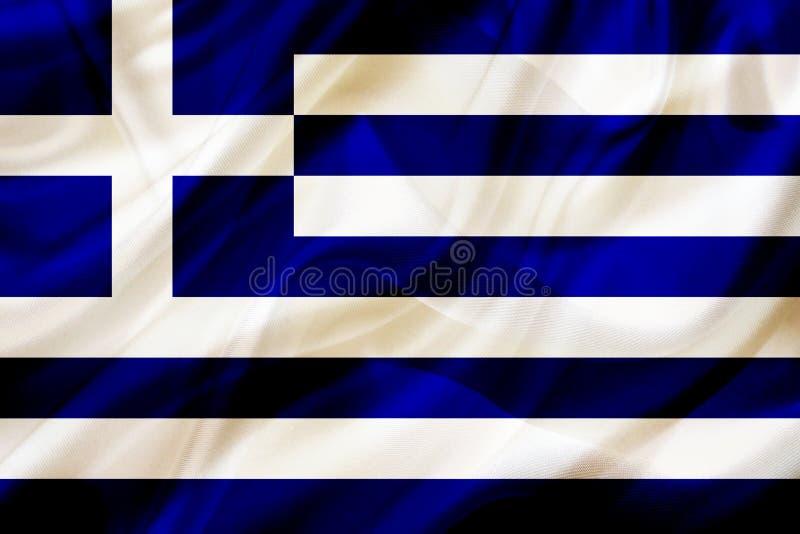 Grecja kraju flaga na jedwabniczej lub silky falowanie teksturze royalty ilustracja