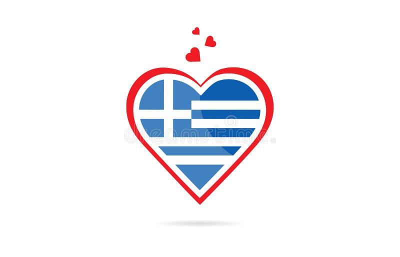Grecja kraju flaga wśrodku miłość logo kierowego kreatywnie projekta ilustracja wektor