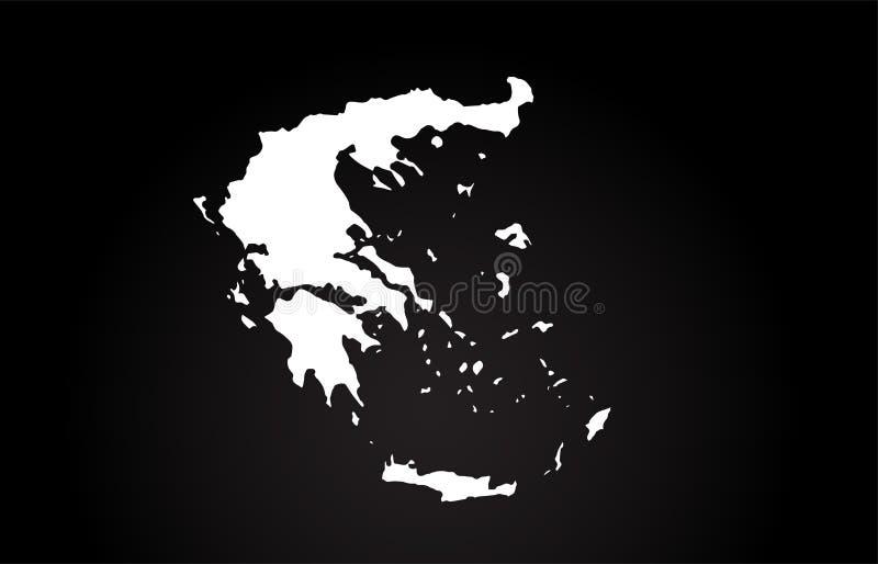 Grecja kraju granicy mapy logo czarny i biały projekt ilustracji