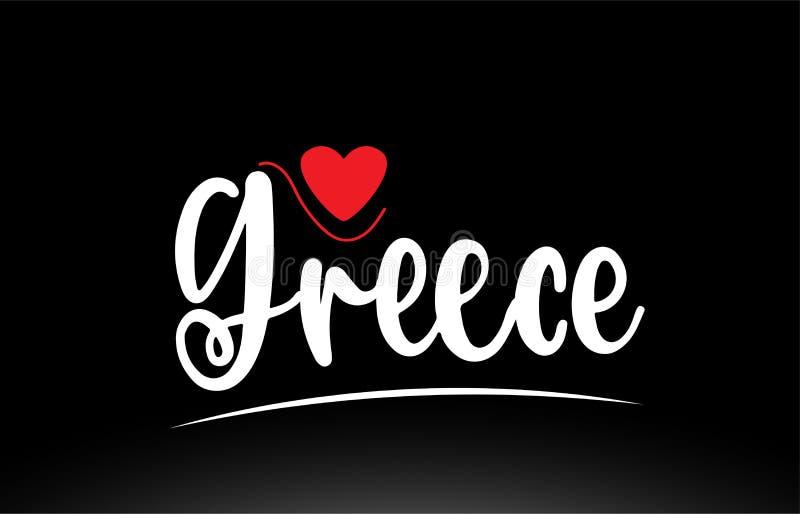 Grecja kraju teksta typografii logo ikony projekt na czarnym tle ilustracja wektor
