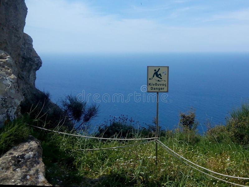 Grecja na krawędzi - Grecki niebezpieczeństwo znak fotografia stock