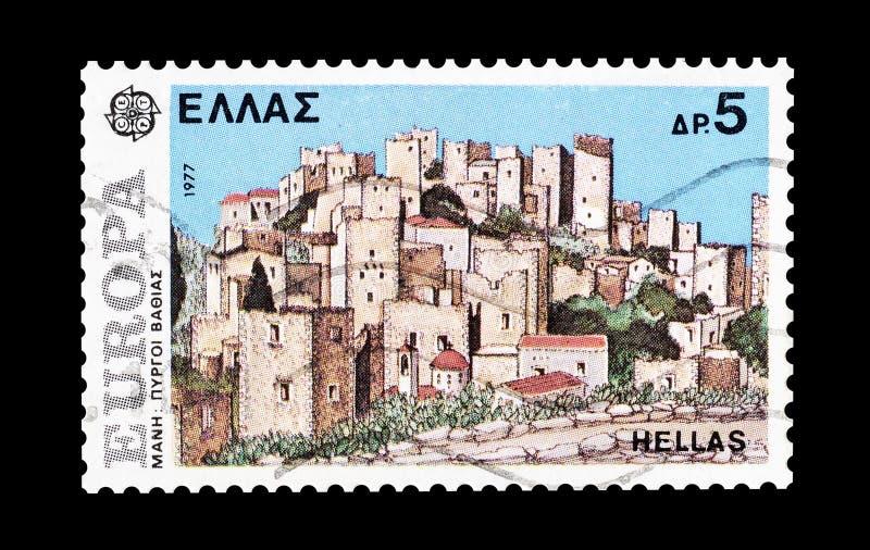 Grecja na znaczkach pocztowych zdjęcie stock