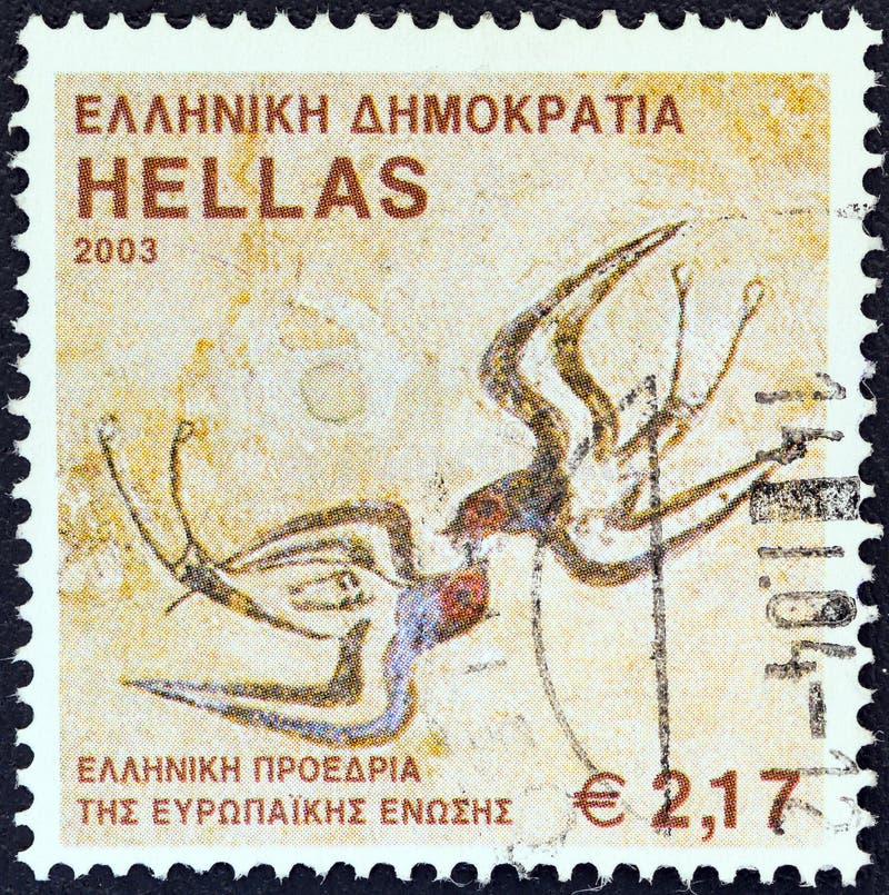 GRECJA - OKOŁO 2003: Znaczek drukował w Grecja pokazów wiosny fresku «, Santorini wyspa około 2003, zdjęcia stock