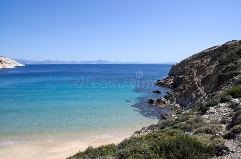 Grecja, piaskowata zatoka na Donoussa wyspie fotografia stock