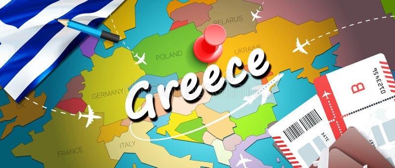 Grecja podróży pojęcia mapy tło z samolotami, bilety Wizyty Grecja podróż i turystyki miejsce przeznaczenia pojęcie Grecja flaga  royalty ilustracja