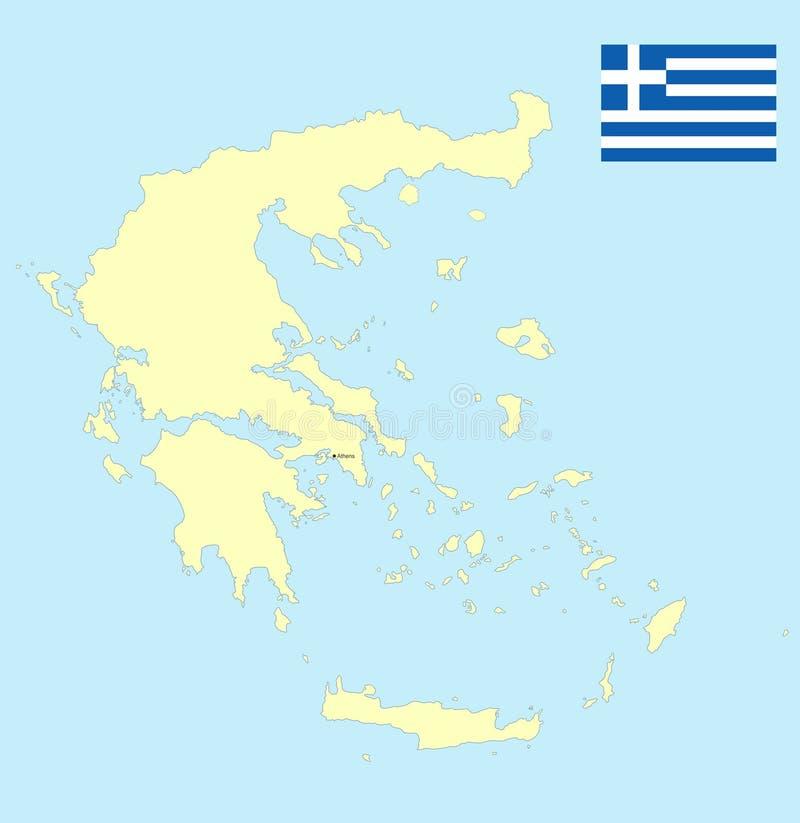 Grecja prosta mapa obraz stock
