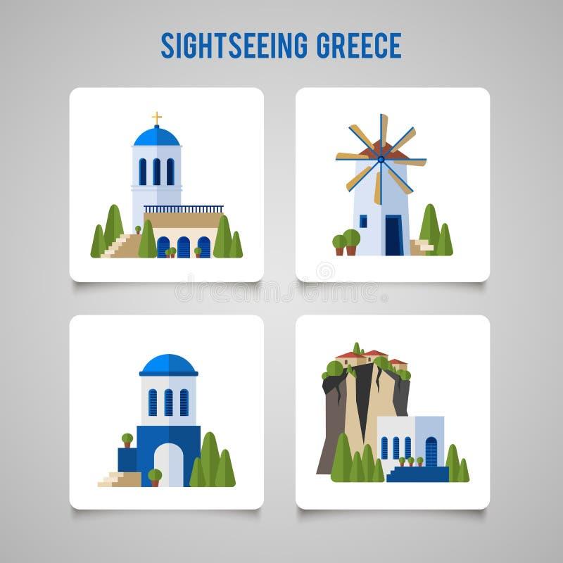 Grecja punktów zwrotnych tradycyjnej architektury płaskie ikony ustawiać ilustracja wektor