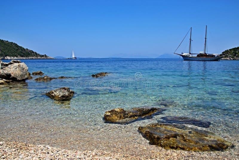 Grecja, wyspa widok seacoast blisko Kioni zdjęcia royalty free