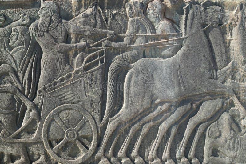 Grecka antyczna podobna plakieta przy Wielkim Aleksander zabytkiem, Grecja zdjęcie stock