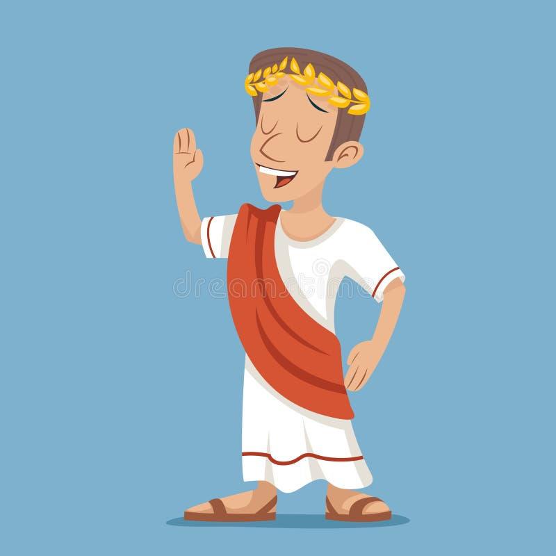Grecka Romańska Retro rocznika biznesmena postać z kreskówki ikona na Eleganckiej tło projekta wektoru ilustraci royalty ilustracja
